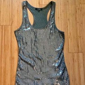 LIKE NEW Express Silver Sequin Party Tank in Small